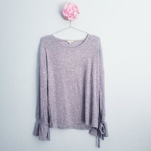 Lucky Brand Grey Ribbed Knit Long Bell Sleeve Top